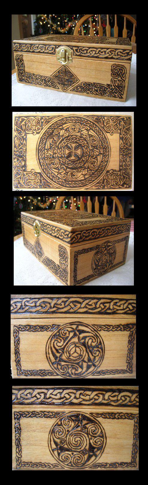 pyrography peru jewelry box | Celtic Jewelry Box by Theophilia