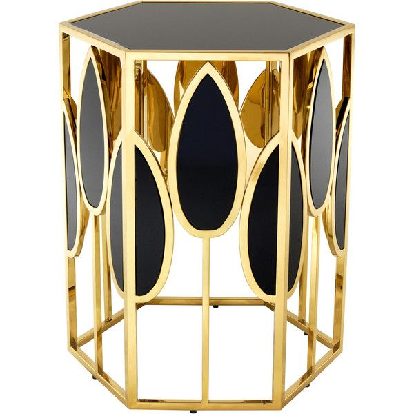Eichholtz Florian Hollywood Regency Gold Black Glass Side Table ($1,857) ❤ liked on Polyvore featuring home, furniture, tables, accent tables, gold accent table, hollywood regency furniture, black glass furniture, hollywood regency table and hollywood regency end tables
