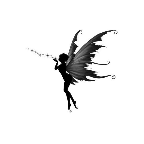 A Fairy's Kiss Tattoo [] - $12.00 : Fairy Silhouette Art by Julie Fain, Fairy Art, Fantasy, Mermaid, Dragon, Faery, Unicorn Art Prints for Sale, dark gothic fairy art found on Polyvore