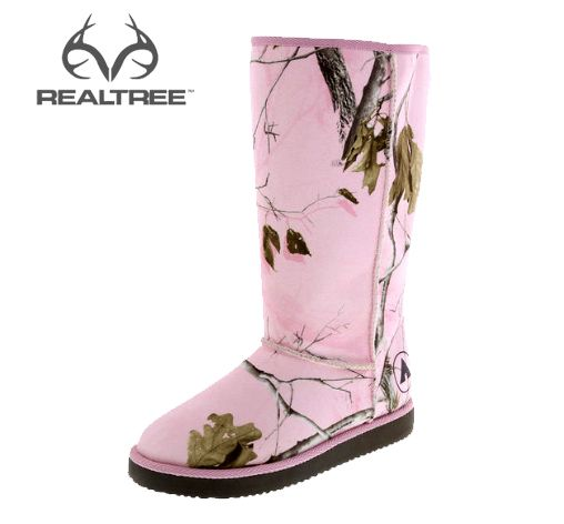 "This #NEW laid back Realtree Pink Camo Boot from Airwalk features a tall shaft for warmth and style, soft textile suede with raw seams, cushiony faux shearling lining and a lightweight 1"" outsole. #Realtreecamo #camoboots"