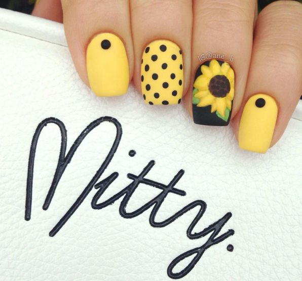 yellow, sunflower, dots nails