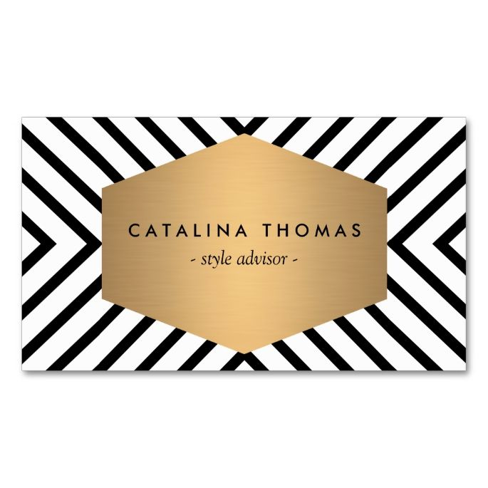 The 2061 best makeup artist business cards images on pinterest retro mod black and white pattern with gold emblem business card reheart Gallery