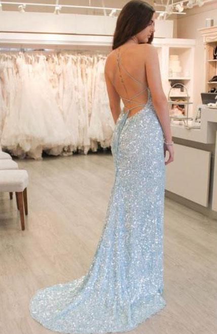 638975be0bd2 Pale Blue Sequin Spaghetti Strap Mermaid Backless Prom Dresses The long prom  dresses are fully lined