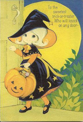 cute vtg witch hallmark halloween jack o lantern pumpkin moon and stars black yellow orange - Cute Halloween Witches