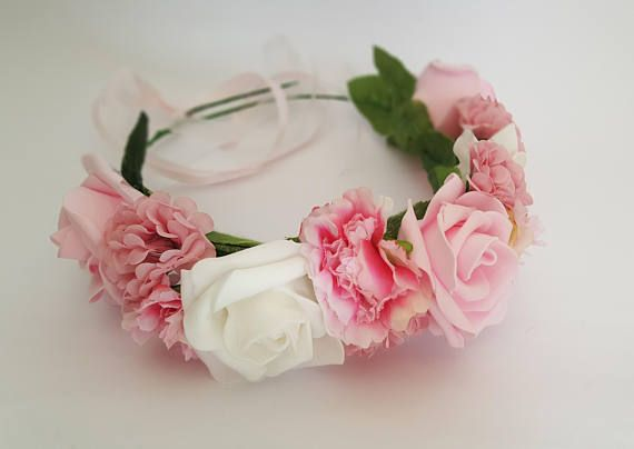 ♥ This Flower Crown designed and specially artificial flowers, handmade interlaced with various types of flowers in Different shades of pink and white . ♥ The wreath is excellent for celebrations, parties, birthday, Bat Mitzvah, wedding, bridesmaid and & more Special occasions… ♥ Also
