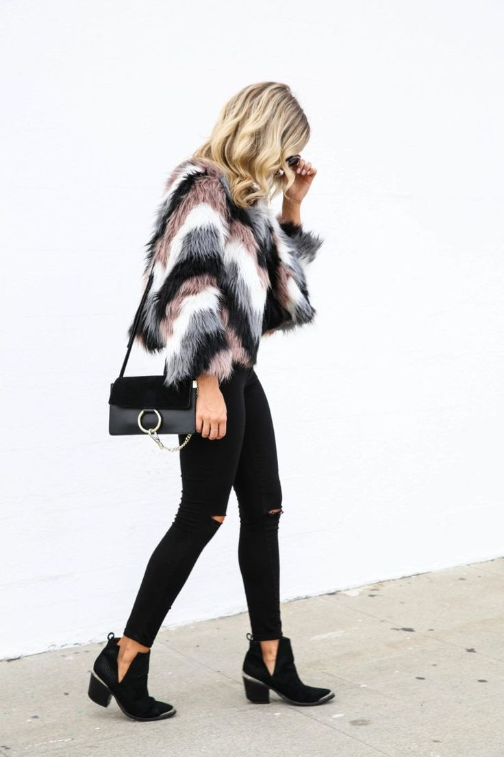 Chevron Faux Fur Jacket