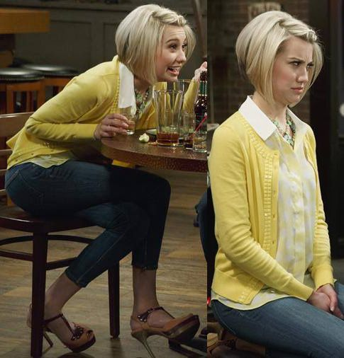 Riley's yellow beaded cardigan, polka dot top and two-tone sandals on Baby Daddy.  Outfit details: http://m.wornontv.net/18691/