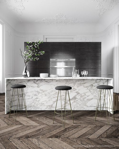 3D render of a parisian apartment by Jessica Vedel.  Great material mix, marble, grey slate, weathered grey woods