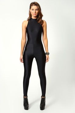 Jules High Neck Sleeveless Disco Catsuit at boohoo.com