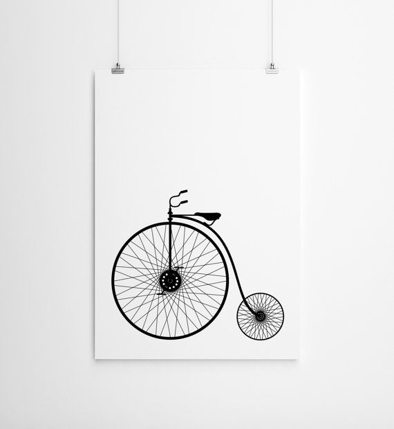 Black and white retro bicycle print bicycle by milkandpaper 14 00