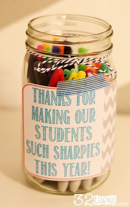 I would LOVE this gift... as most Shaprie-addicted teachers would :) Sharpies-Teacher-Appreciation