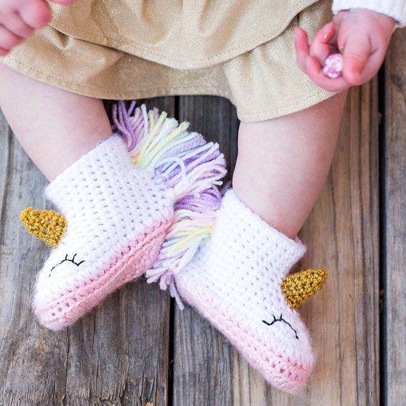 41c4c7105b019 Unicorn Baby Booties - Unicorn Baby Shoes - Crochet Unicorn Booties ...