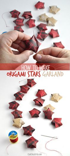 How to string origami stars together to make a pretty homemade holiday garland by Between Naps on the Porch.