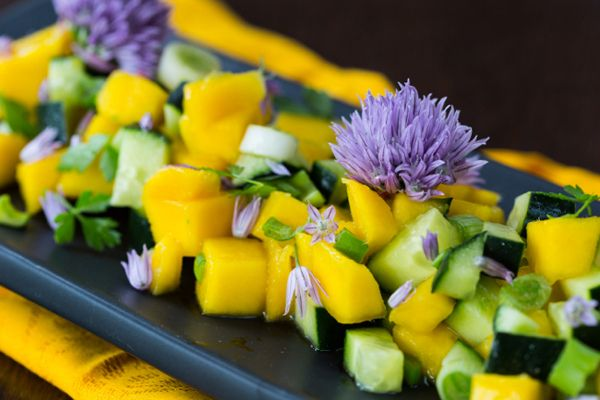 Asian Mango, Cucumber and Spring Onion Salad with Fish Sauce