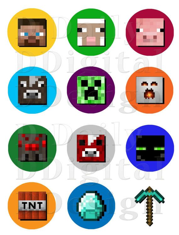 Minecraft Stickers Printable Cake/Cupcake by DailyDigitalDesigns