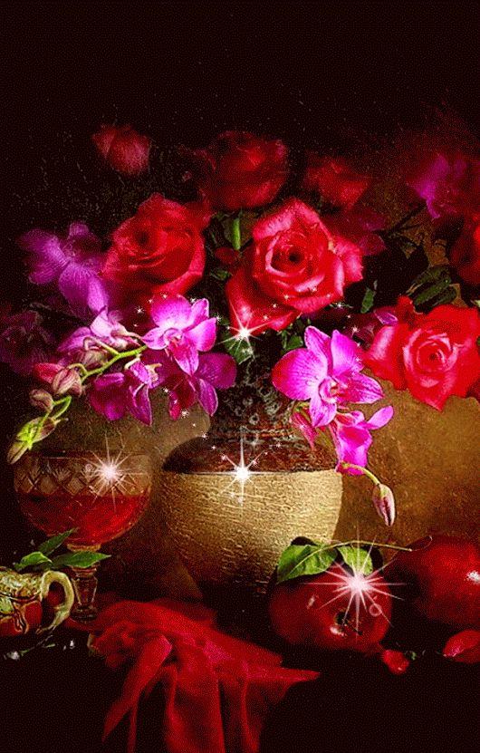 Открытку, гифки живые картинки цветы