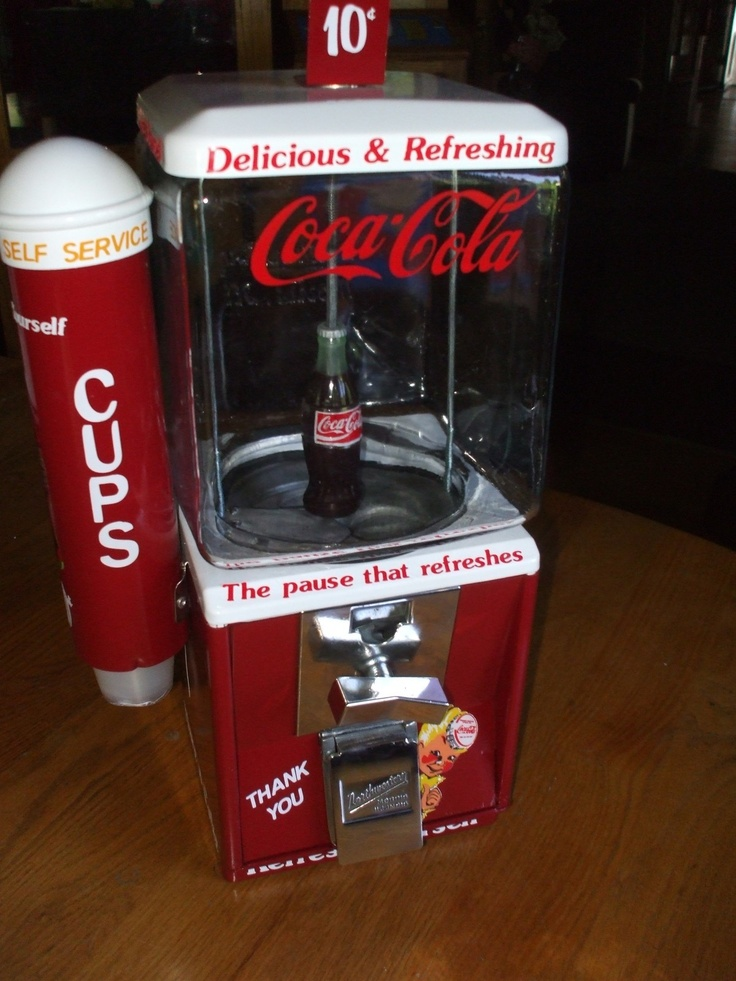 Restored 1950s Coca Cola Themed Gumball Vending Machine