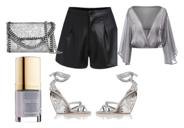 """""""Wedges"""" by gonnadressyouup on Polyvore featuring Donna Karan, STELLA McCARTNEY, Dolce&Gabbana, Silver, Wedges, grey and leathershorts"""