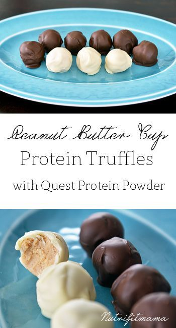 Gluten Free Peanut Butter Cup Protein Truffles {with Quest Protein Powder} by NutriFitMama. A perfect post workout snack or treat. Healthy and delicious!