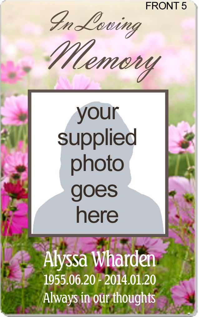 10 best images about Plastic Memorial Cards - Obituary Cards ...