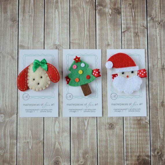 Christmas Hair Clip Sampler Set - felt puppy, Christmas tree and Santa hair clips - holiday hair bow set - SPECIAL Price