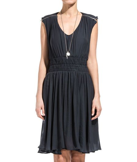 ANTHRACITE GRAY CLASSIE DRESS-Classie sleeveless dress color anthracite gray. Horizontal cut running at waist and elasticated belt. Two metal zippers at shoulders. Flared bottom- Color matched lining. COMPOSITION: 100% POLYESTER. Model wears size 36 she is 182 cm tall and weighs 60 Kg.