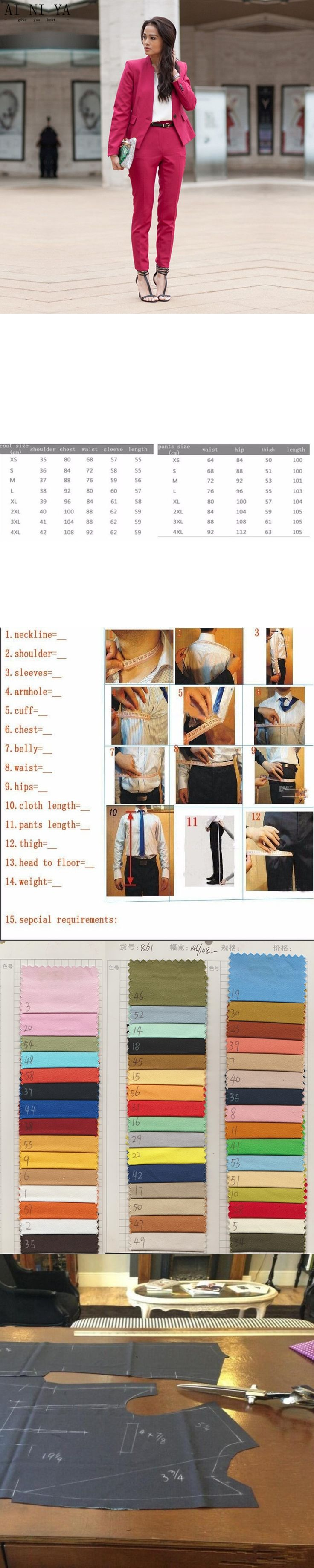 Rose Red Women Business Evening Pant Suits Slim Female Office Uniform Formal 2 Piece Suits Ladies Trouser Suit Custom Made