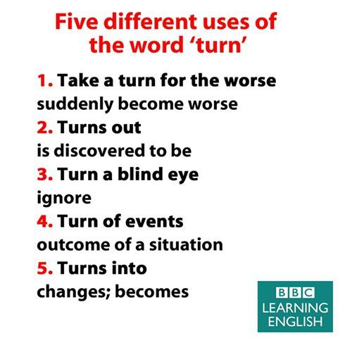 Five different uses of the word TURN #learnenglish