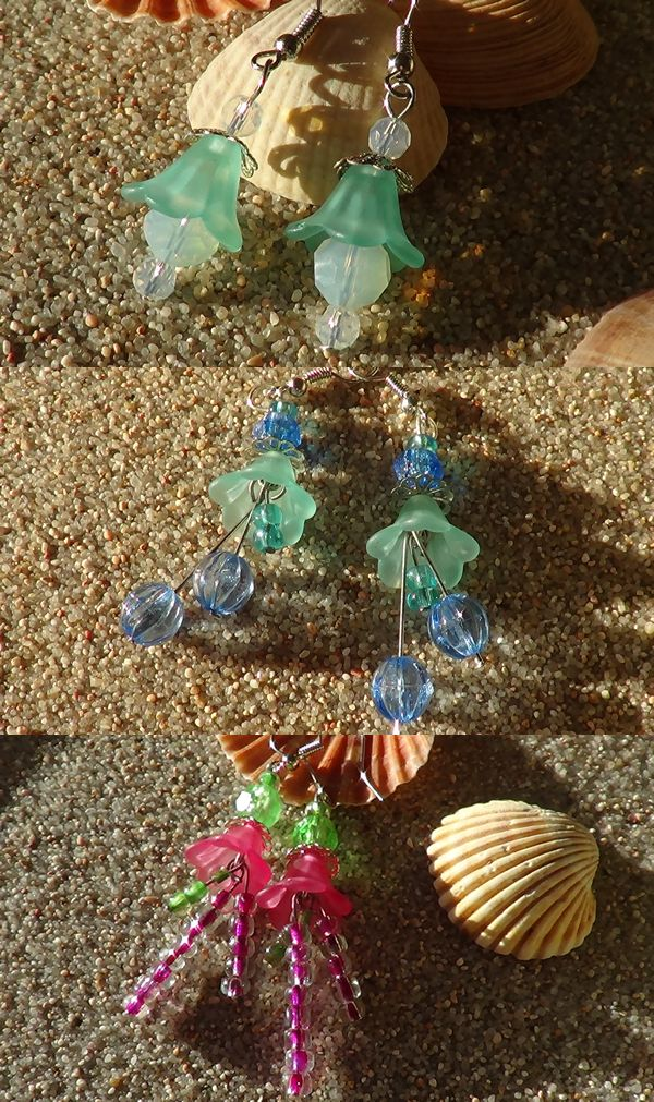 Lucite floral earrings