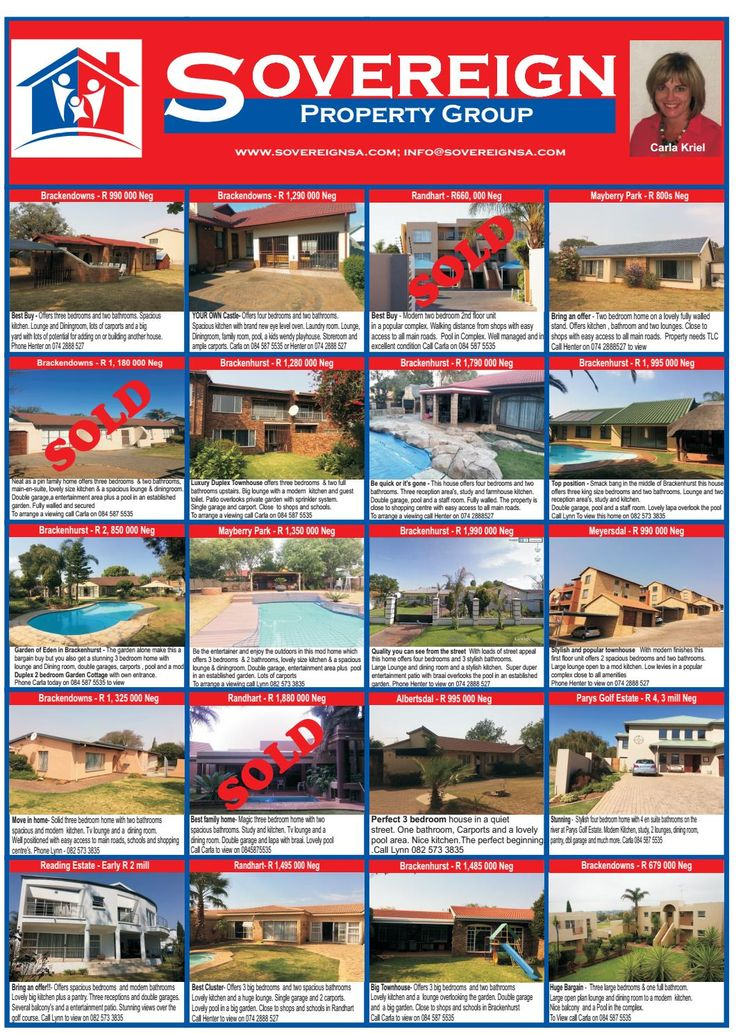 Sovereign Property Group advert  Selection of propeties for sale in Alberton Gauteng by Sovereign Property Group. Contact us for houses townhouses and Clusters for sale in Alberton - 0742888527
