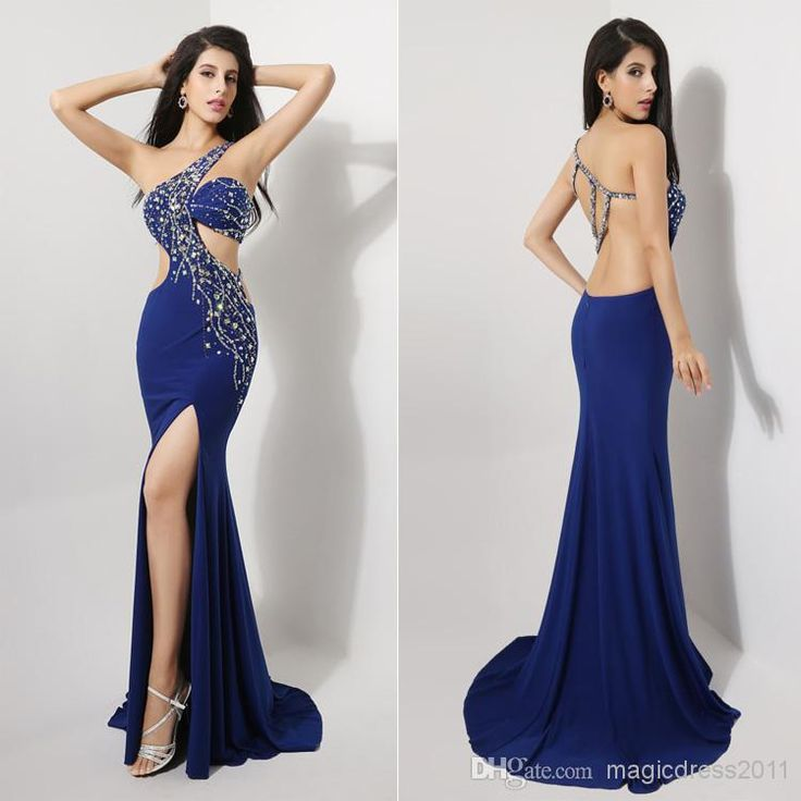 Cheap One Shoulder - Discount Sexy Blue Crystal Prom Dresses Evening Gown 100 Online with $106.54/Piece | DHgate