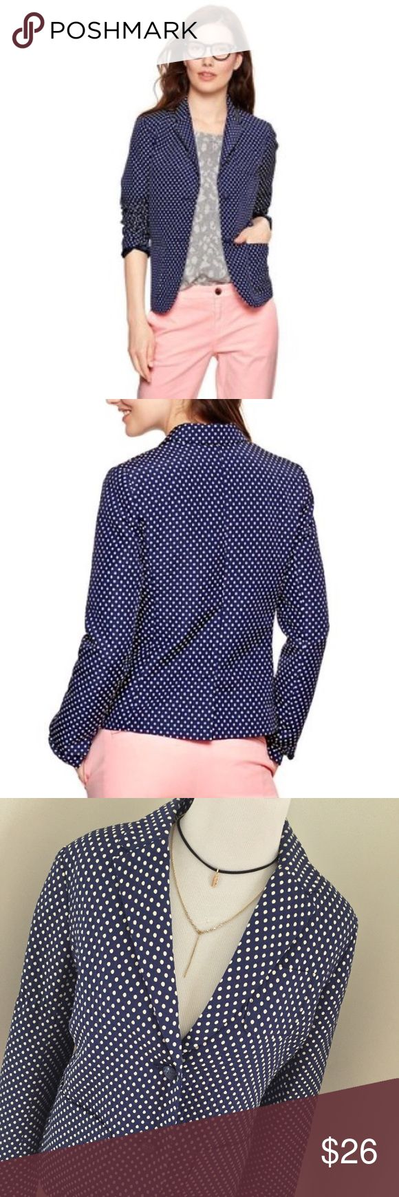 Gap Academy Navy Polka Dot Blazer Cute and classy polka dot blazer by Gap. Navy with white dots. Two button closure with pocket on either side. Size 6, great condition. GAP Jackets & Coats Blazers
