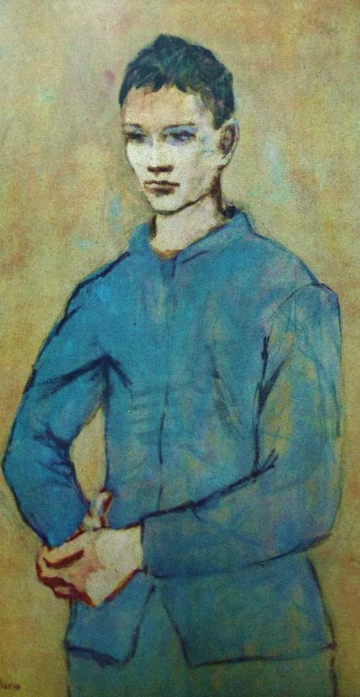 Boy in blue by Pablo Picasso, 1905.  Gouache on paper