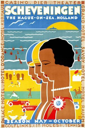 Vintage poster for Scheveningen, the Hague-on-the-sea.