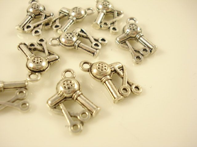 10 Antiqued Silver Tone  Hair Tool Set Charm Pendant Drop 14x10mm SB-578 by yooounique on Etsy