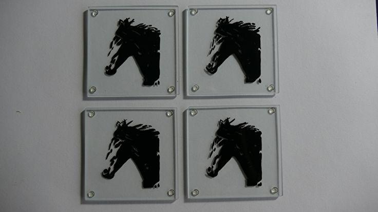 4 x glazen onderzetters paard