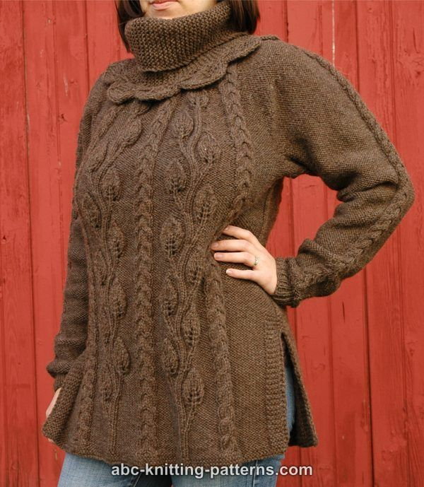 Leaf Cable Knitting Pattern : ABC Knitting Patterns - Cables and Leaves Tunic http://www.abc-knitting-patte...