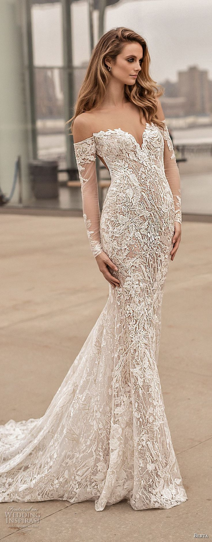 berta spring 2018 bridal long sleeves off the shoulder sweetheart neckline full embellishment sexy elegant fit and flare wedding dress open low back medium train (3) mv -- Berta Spring 2018 Wedding Dresses