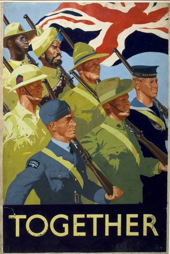 """Together"" -- British WWII poster praising the ""Colonial"" troops"