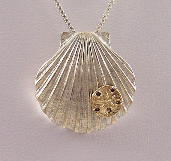 14k Gold Sand Dollar on Sterling Silver Shell by tiposcreations, $99.95