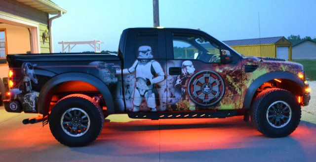 Yeah You Did: Fan Wraps Truck In Star Wars Graphics: Ford Trucks, Cars Wraps, Fans Wraps, War Graphics, Star Wars, Wraps Trucks, Stars Wars, Stars War Saga, Cars Trucks