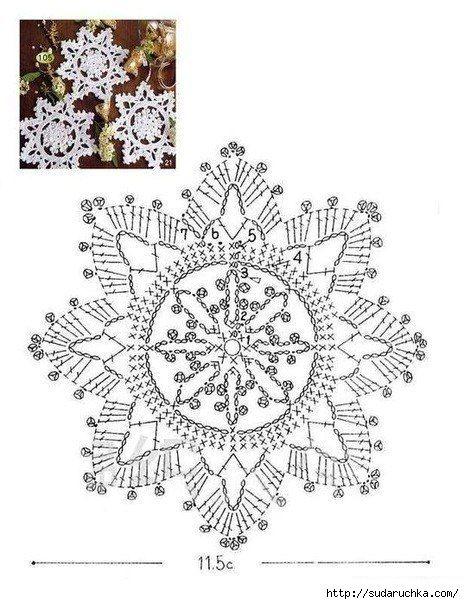 Снежинки - вязание крючком.
