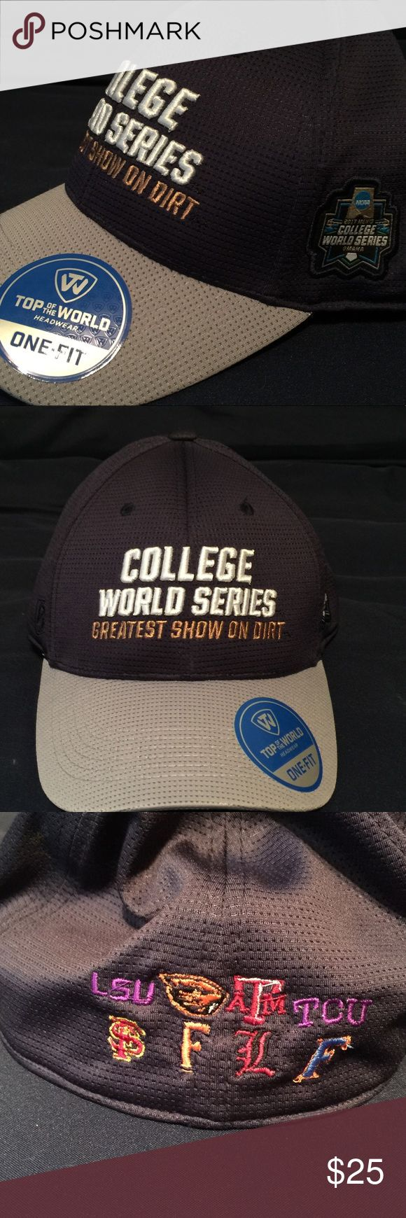 College World Series Ball Cap This is navy blue crown with gray bill. It is new with tags from the college World Series in Omaha NE.  This cap features the college logos embroidered on the back.  It is flex Fit One size unisex. NCAA Accessories Hats