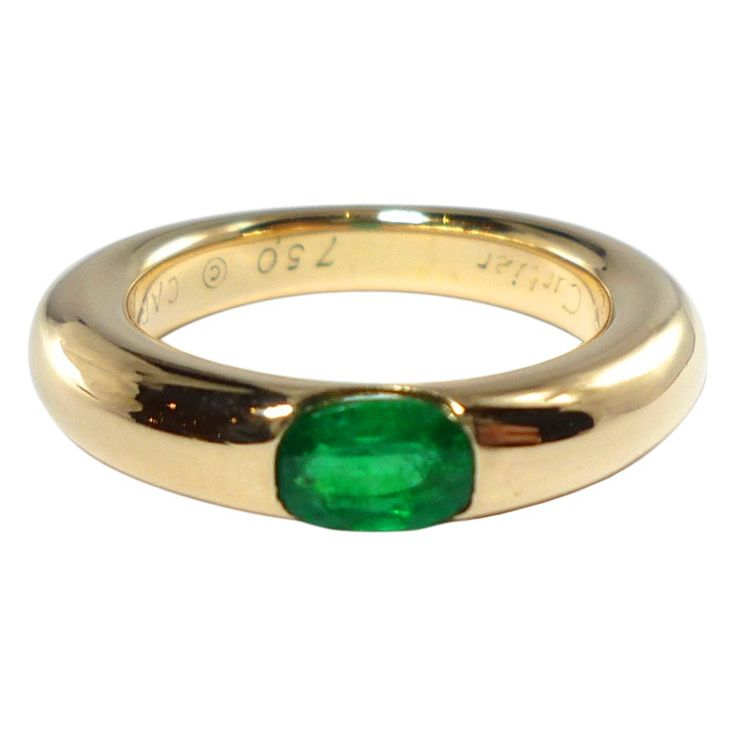 CARTIER Ellipse Emerald Ring | From a unique collection of vintage band rings at http://www.1stdibs.com/jewelry/rings/band-rings/