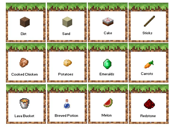 Minecraft Birthday Party Food Labels. FREE PRINTABLE! Menu based on: Dirt- Coco Crispy Treats; Sand- Rice Crispy Treats; Cake- birthday cake!; Sticks- Pretzel sticks; Cooked Chicken- Chicken Nuggets; Potatoes- Tater Tots; Emeralds- green grapes; Carrots- carrots!; Lava Bucket- Red Jello; Brewed Potion- drinks; Melon- Melon!; Redstone- Strawberries (or red wrapped Hershey kisses, or red candy)