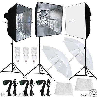 3 Softbox Photography Video Studio Light Lighting Kit Multi Design