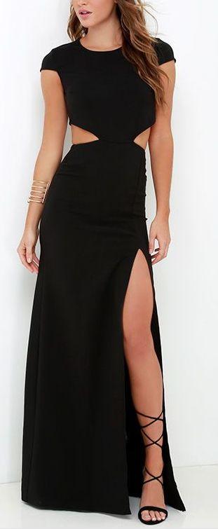 Long/slit black dress
