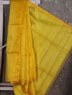 Buy Ankush Yellow Handwoven Jamdani Saree Online, , LimeRoad
