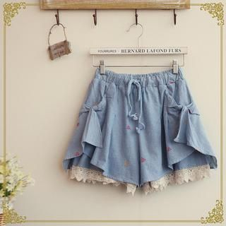 Buy 'Fairyland � Diamond Embroidered Lace Trim Shorts' with Free International Shipping at YesStyle.com. Browse and shop for thousands of Asian fashion items from China and more!