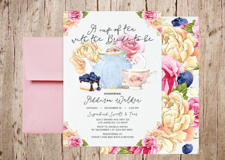 Tea Party Bridal Shower Invitation, Birthday Tea Luncheon, High Tea, Wedding Shower, Calligraphy, Shower Invite, Tea Shower by ForwardPraises on Etsy